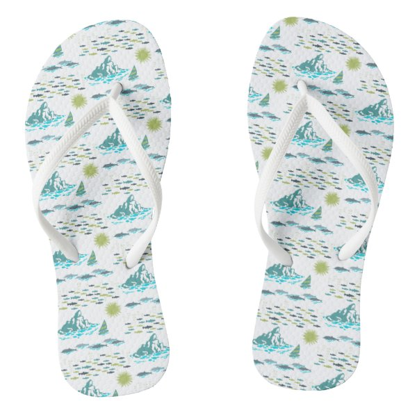 Summer Island Paradise Beach Sun Fish Green White Flip Flops