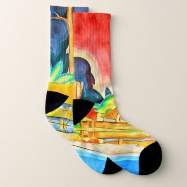 Hawaiian Themed Summer Island Tropics in an Abstract Paining Socks