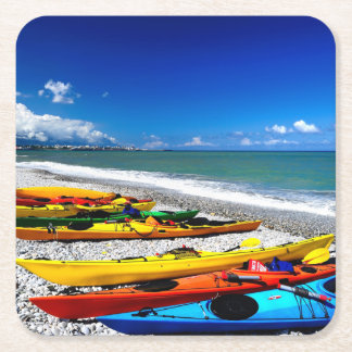 Summer Kayaking Square Paper Coaster