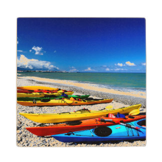 Summer Kayaking Wood Coaster