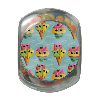 Summer Kitty Cats Madness Glass Candy Jar