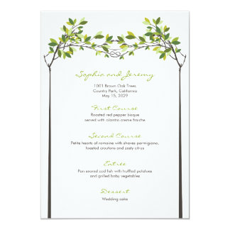 Summer Knotted Love Green Trees Wedding Menu Card