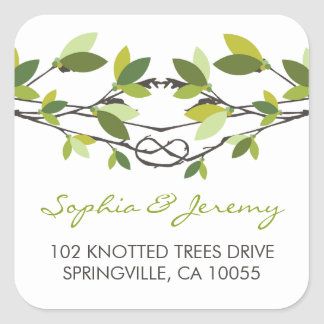 Summer Knotted Love Trees Address Wedding Stickers