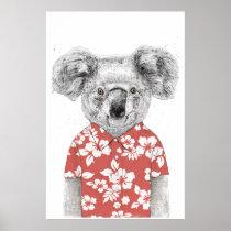 Summer koala (red) poster