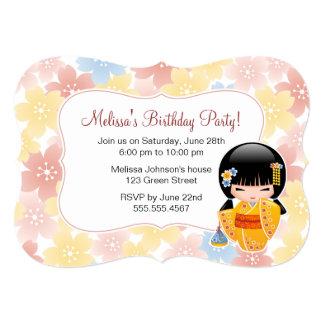 Summer Kokeshi Doll - Cute Geisha Birthday Party Card
