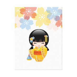 Summer Kokeshi Doll - Yellow Kimono Geisha Girl Canvas Print