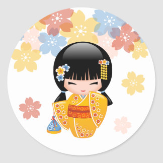 Summer Kokeshi Doll - Yellow Kimono Geisha Girl Classic Round Sticker