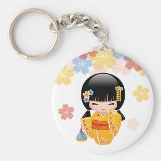 Summer Kokeshi Doll - Yellow Kimono Geisha Girl Keychain