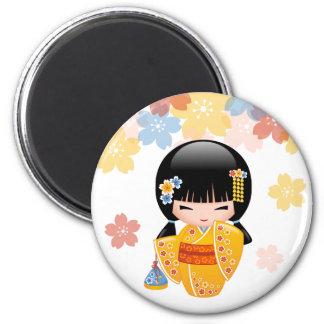 Summer Kokeshi Doll - Yellow Kimono Geisha Girl Magnet