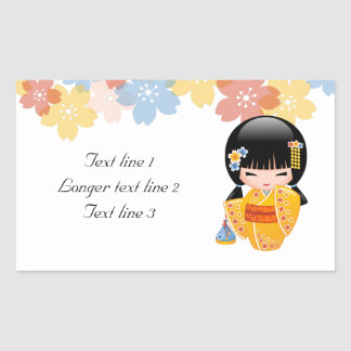 Summer Kokeshi Doll - Yellow Kimono Geisha Girl Rectangular Sticker