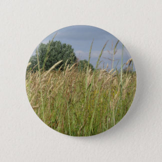 Summer landscape of wild field in the countryside button