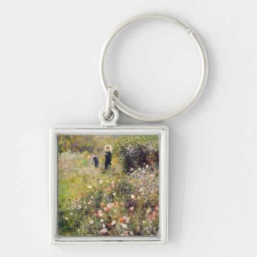 Summer Landscape Silver-Colored Square Keychain