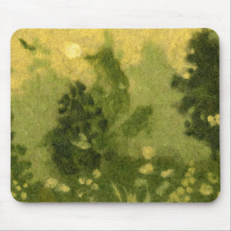 """Summer Lawn"" wool painting landscape green shades Mouse Pad"