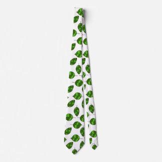 Summer Leaves adjustable Green Leaf Tight Pattern Neck Tie