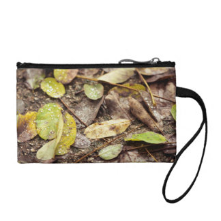 Summer leaves under the raindrops change purse
