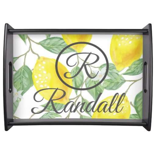 Lemon Monogram Serving Tray