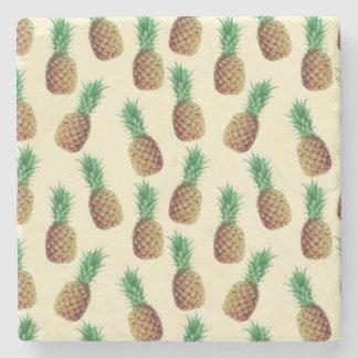 Summer Light Beige Pineapple Pattern Stone Coaster