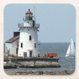 Summer Lighthouse Paper Coaster Square Paper Coaster