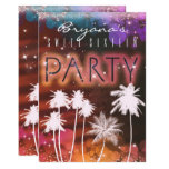 Hand shaped Summer Lights & White Palm Tree Party Invitations