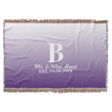 Christmas Themed summer lilac ombre purple monograms throw