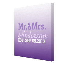 summer lilac ombre purple wedding mr and mrs canvas print