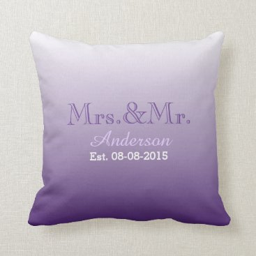 Christmas Themed summer lilac ombre purple wedding mr and mrs throw pillow
