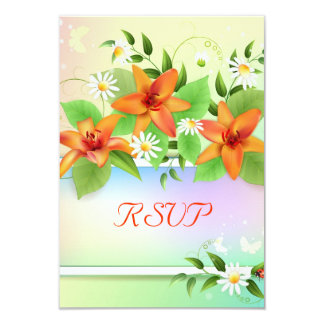 """Summer Lily Floral RSVP cards 3.5"""" X 5"""" Invitation Card"""