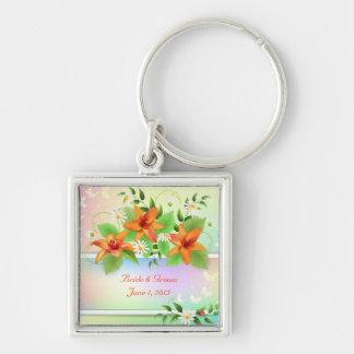 Summer Lily Floral Wedding Keychain