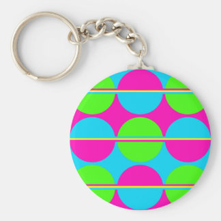Summer Lime Green Hot Pink Teal Circles Stripes Basic Round Button Keychain