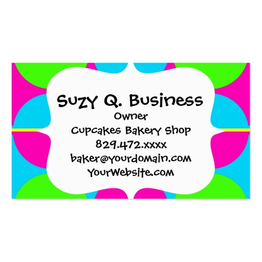 Summer Lime Green Hot Pink Teal Circles Stripes Business Card