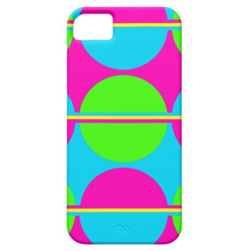 Summer Lime Green Hot Pink Teal Circles Stripes iPhone 5 Cases