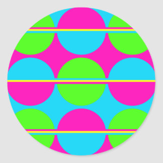 Summer Lime Green Hot Pink Teal Circles Stripes Classic Round Sticker