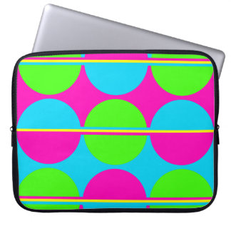 Summer Lime Green Hot Pink Teal Circles Stripes Computer Sleeve