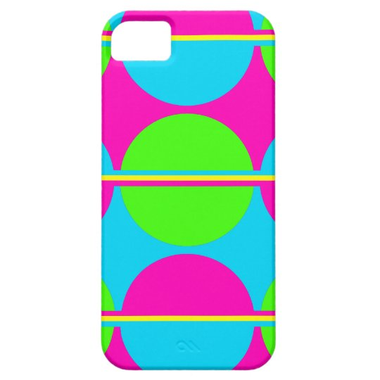 Summer Lime Green Hot Pink Teal Circles Stripes iPhone SE/5/5s Case