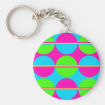 Summer Lime Green Hot Pink Teal Circles Stripes Key Chains