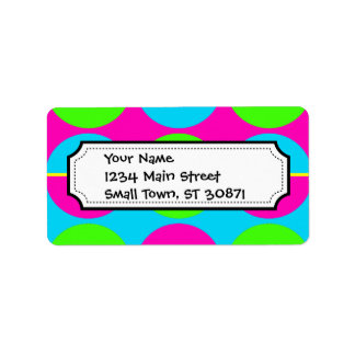 Summer Lime Green Hot Pink Teal Circles Stripes Label