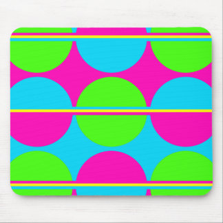 Summer Lime Green Hot Pink Teal Circles Stripes Mouse Pad