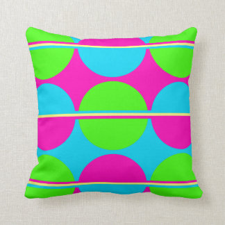 Summer Lime Green Hot Pink Teal Circles Stripes Throw Pillows