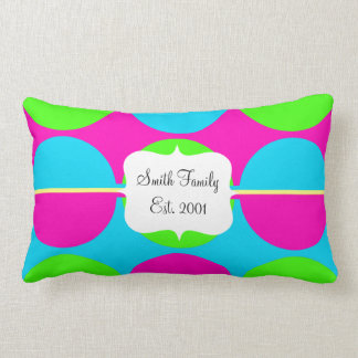 Summer Lime Green Hot Pink Teal Circles Stripes Pillows
