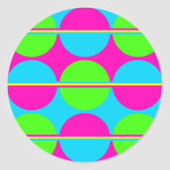 Summer Lime Green Hot Pink Teal Circles Stripes Stickers