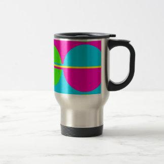 Summer Lime Green Hot Pink Teal Circles Stripes Travel Mug