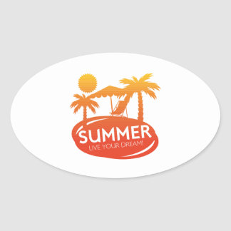 Summer – Live your dream Oval Sticker