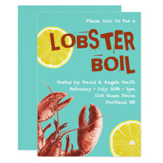 Summer Lobster Boil Party Aqua Card