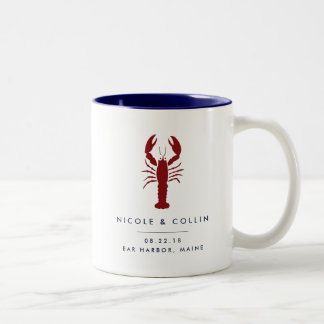 Summer Lobster Wedding Favor Two-Tone Coffee Mug