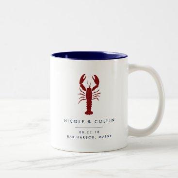 Beach Themed Summer Lobster Wedding Favor Two-Tone Coffee Mug