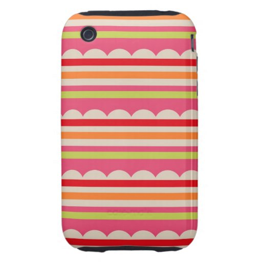 summer lolly scalloped stripes pattern tough iPhone 3 case
