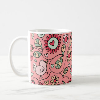 Summer Love Bird Flowers Mug