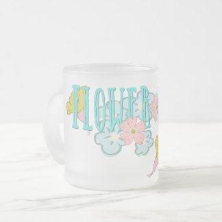 Summer Love Flower Child Frosted Glass Coffee Mug