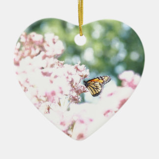 Summer Love :: Monarch Butterfly Pink Flowers Ceramic Ornament