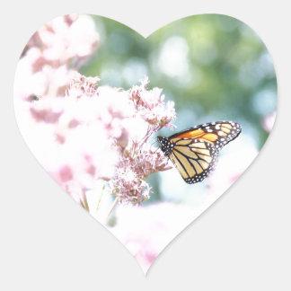 Summer Love :: Monarch Butterfly Pink Flowers Heart Sticker
